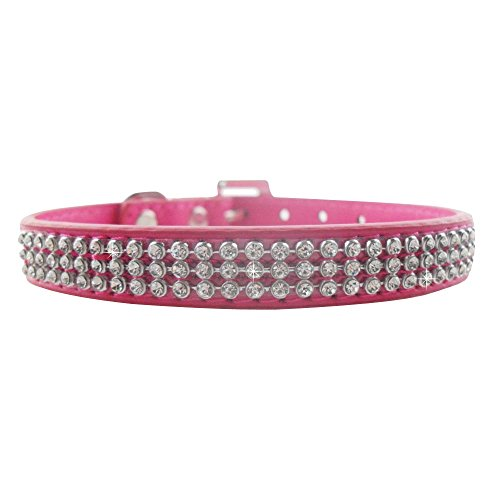Baiyu Pet Dog Rhinestone Collar PU Leather Puppy Necklace Adjustable Bow Tie Band Costume Outfits with Diamante Crystal Decoration and Buckle Closure Size XS - (Unique Pet Costumes)