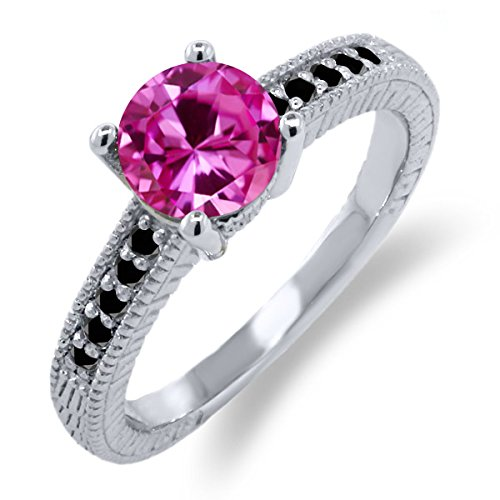 1.83 Ct Round Pink Created Sapphire Black Diamond 925 Sterling Silver Ring (Round Pink Sapphire Ring)