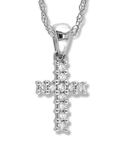 Petite Prong Set Diamond Cross