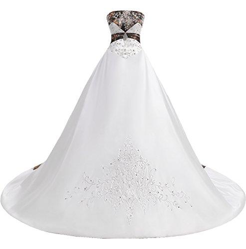 e444c836fe77f MILANO BRIDE Gorgeous Wedding Dress for Women Camo Ball Gown Strapless  Embroidery-26W-White&Camo
