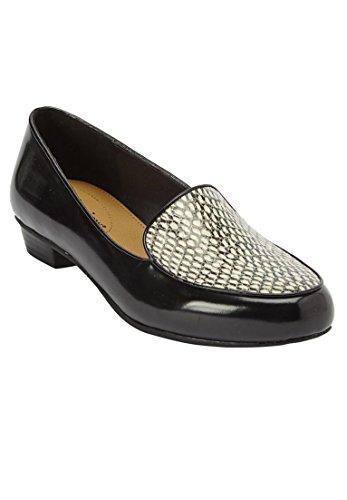 Comfortview Womens Plus Size Elena Flats Black Snake Print AsitP