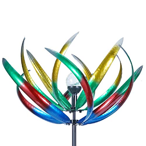 (Solar Wind Spinner 3D Kinetic Wind Spinners Outdoor Metal Gardening Decorations with Multi-Color LED Lighting by Solar Powered Glass Ball with Lawn Ornament Wind Mills)