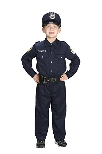 [Aeromax Jr. Police Officer Suit, Size 4/6 with police cap,badge, and belt to look and feel like the real] (Policeman Boys Costume)