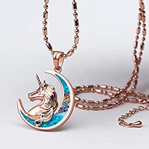 Karseer Unicorn Crescent Moon Pendant Necklace Rainbow Crystal and Glitter Opal Dream Star Series Magic Necklaces Jewelry Christmas New Year Gift for Women Girls Kids