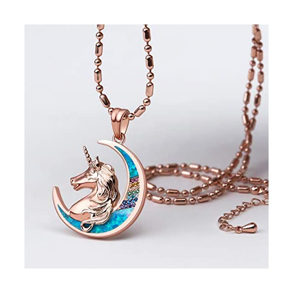 Karseer Unicorn Crescent Moon Pendant Necklace Rainbow Crystal and Glitter Opal Dream Star Series Magic Necklaces… 4