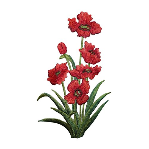 (ID 6700 Red Blossom Flower Plant Patch Garden Bush Embroidered Iron On Applique)