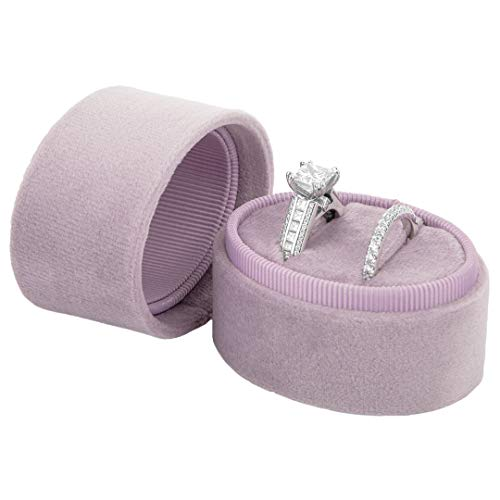 Koyal Wholesale Double Oval Velvet Ring Box, Vintage Wedding Ceremony Ring Box with Detachable Lid, 2 Piece Engagement Ring Box Holder, Proposal Idea, Slim Ring Box with Cushion - Box Lilac
