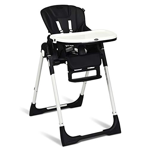 INFANS High Chair for Babies & Toddlers, Foldable Highchair with Multiple Adjustable Backrest, Footrest and Seat Height, Removable Tray, Detachable PU Leather Cushion, Built-in Rear Wheels (Black)