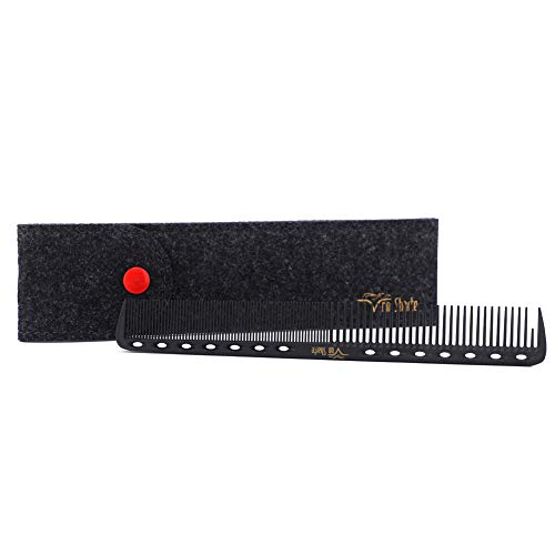Barber Comb,Hair Cutting Combs Carbon Fiber Salon Hairdressing Comb 100% Anti Static 230℃ Heat Resistant with Smooth Round Teeth Bristle for Hair Partition/Remove Knots/Hair Cutting/Dying/Styling