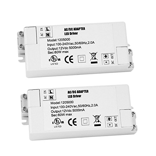 YAYZA! 2-Pack Premium IP44 12V 5A 60W Low Voltage LED Driver Transformer AC DC Switching Power ()