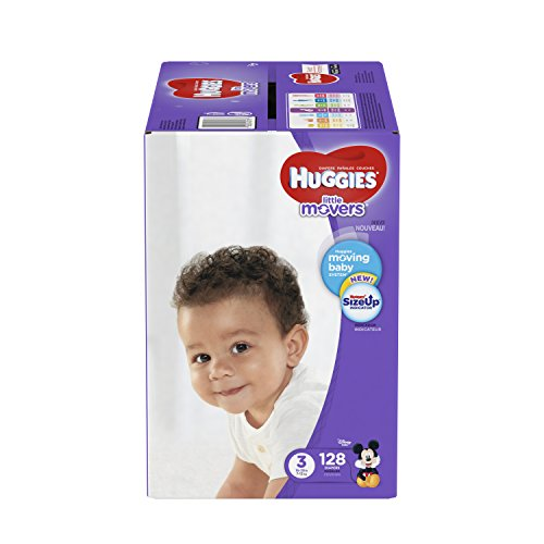 HUGGIES LITTLE MOVERS Diapers, Size 3 (16-28 lb.), 128 Ct. (Packaging May Vary), Baby Diapers for Active - Cosplay Warehouse