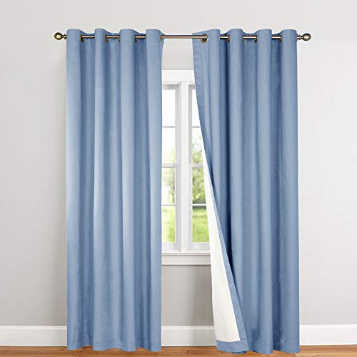 jinchan Bedroom Thermal Blackout Curtains Blue Energy Saving Lined Drapes for Living Room Bedroom 84 Inch Length Grommet Top Window Curtain Sold Individually (Curtain Blue)