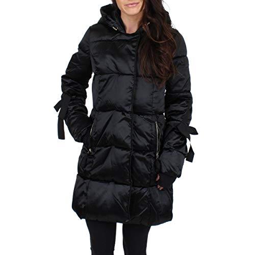Jessica Simpson Women's Nylon Fashion Puffer Jacket, Sleeve Ties Black, S