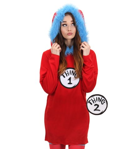 elope Dr Seuss Cat in the Hat Thing 1&2 Hooded Dress L-XL (Cat In The Hat Thing 1)