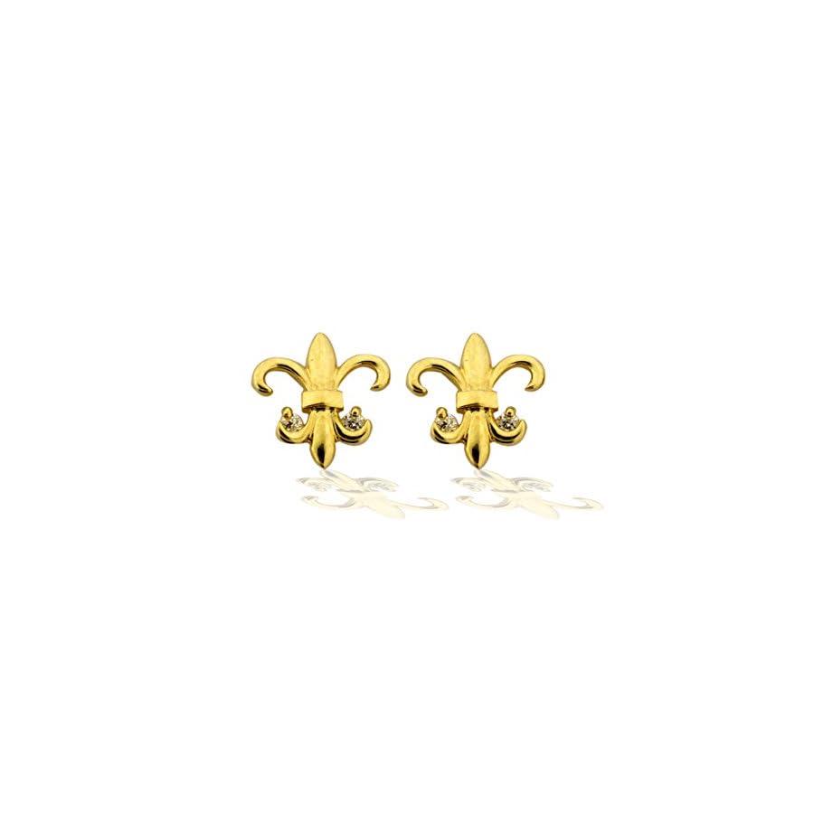 14K Gold Fleur de lis CZ Earrings