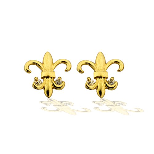 14K Gold Fleur de lis CZ Earrings