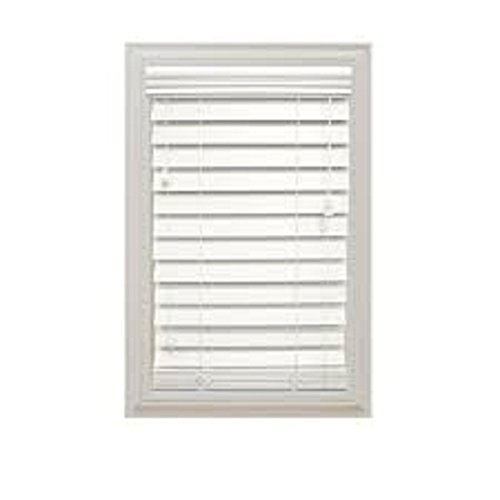 Cut-to-Width White 2 in. Faux Wood Blind - 27 in. W x 64 in. L