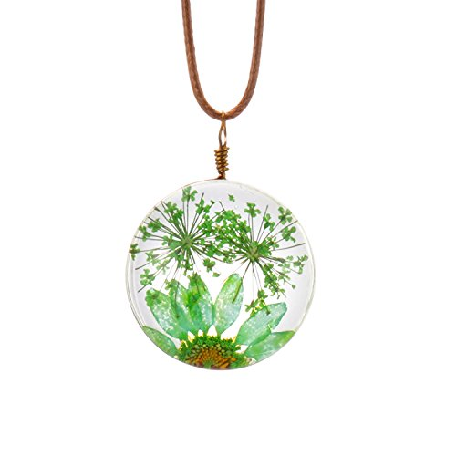 FM FM42 Green Queen Anne's Lace Daisy Pressed Flowers Transparent Round Pendant Necklace FN4169