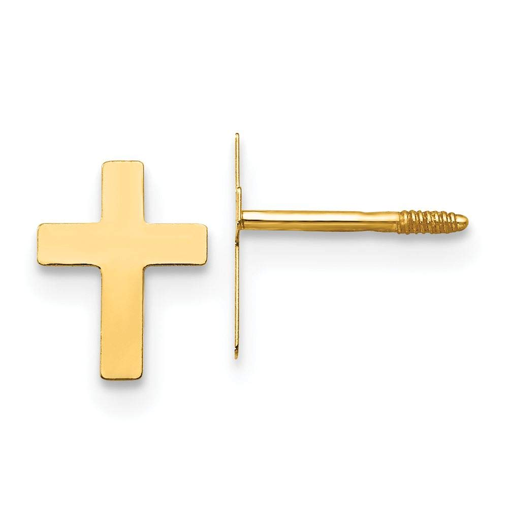 14K Yellow Gold Madi K Childrens 5 MM Cross Screw Back Stud Earrings