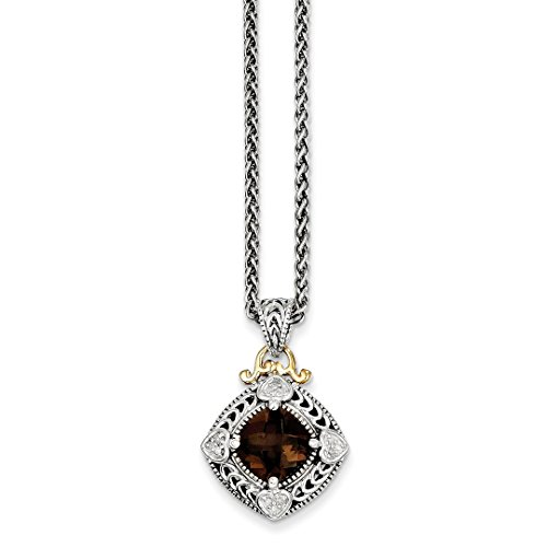 925 Sterling Silver 14k Diamond Smoky Quartz Chain Necklace Pendant Charm Fine Jewelry For Women Gift Set (Box Jewelry Quartz Silver Smoky)