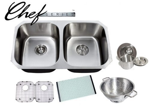 Chef Series 32 Inch Premium 16 Gauge Stainless Steel Undermount 50/50 Double Bowl Kitchen Sink with Free Accessories by Chef