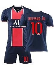 Herrtröja, 2021 andra bortatröja, Mbappé 7# / Neymar 10# fotbollströjor vuxentröja för barn, T-shirt + shorts + strumpor