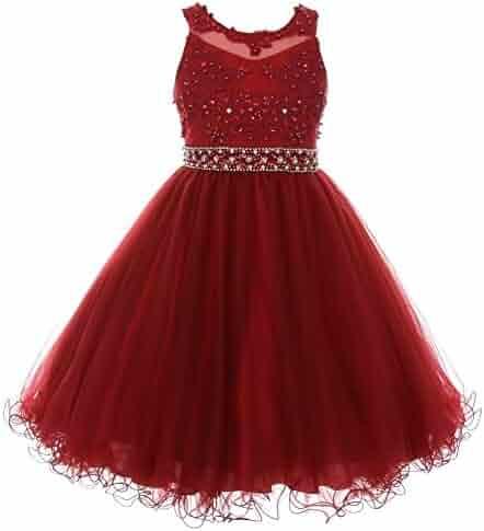 284ced69179 Cinderella Couture Big Girls Burgundy Rhinestone Pearl Beaded Mesh Junior  Bridesmaid Dress 8-16