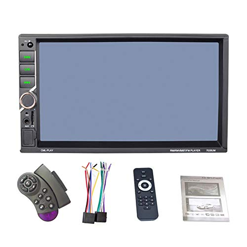 REAKOSOUND 7 Inch 2DIN Car Multimedia Player Universal DC12V 1080P Video Player Steering Wheel Control FM Radio Bluetooth Hands-Free Calls Dual USB QC Charging Mirror Link ()