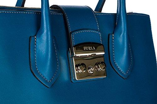 Furla borsa donna a mano shopping in pelle nuova metropolis blu