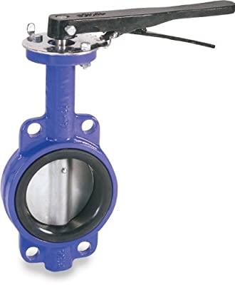 Smith-Cooper International 160 Series Iron Butterfly Valve, Wafer Style, Nickel Plated Ductile Iron Disc, Buna-N Seat, Lever Handle