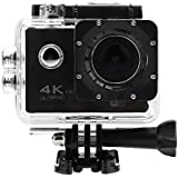 Acouto Action Camera 16M 4K 2.4G Wifi Waterproof Sports Cam 170°Wide Angle with Waterproof Housing Case and Remote Control Accessories Kits (Black)