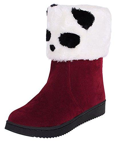 Van De Het Pandapatroon Van Idifuvrouwen Van De De Winter De Vlakke Laarzen Van De De Winter Volledig Bont Gevoerde Enkel Sneeuwbuiten Rood