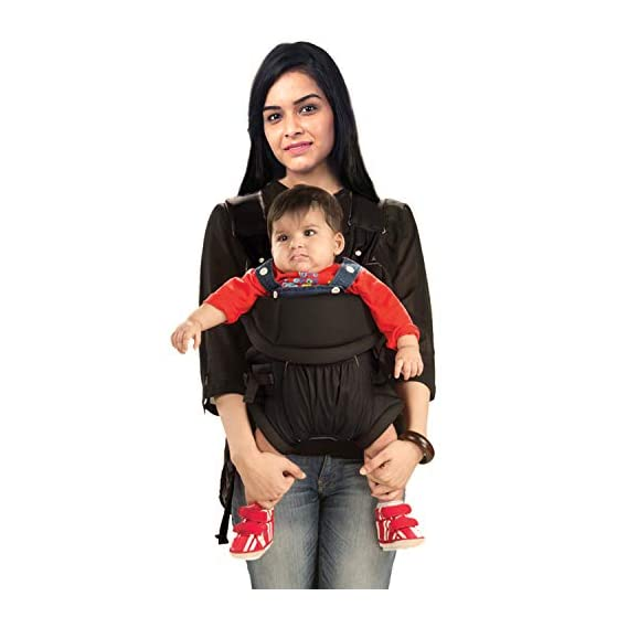 LuvLap Blossom Baby Carrier with 2 carry positions, for 6 to 24 months baby, Max weight Up to 12 Kgs (Black)