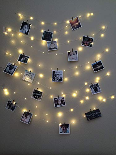 Mason FireFly Lights Silver Wire - Craft clips & Batteries included! Fairy lights battery operated for bedroom, dorm, bedroom, and outdoor, Hangit, warm white, picture lights, Wall lights from Mason Kreations