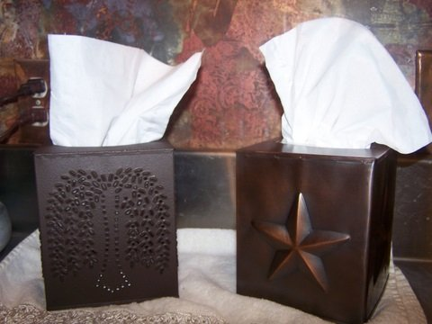 Tissue Box Holder - Decorative Tissue Box Cover - Rustic Brown Punched Willow...