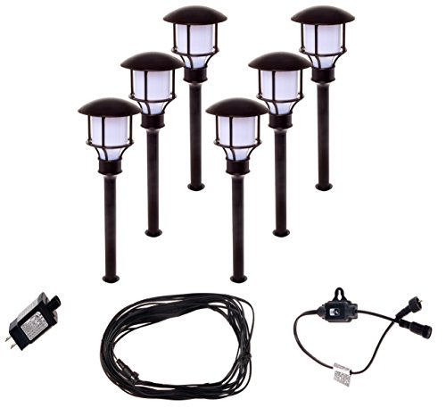 6 Pack Paradise GL33993BR 12V Low Voltage LED Path Lights - 1 Light 12v Path