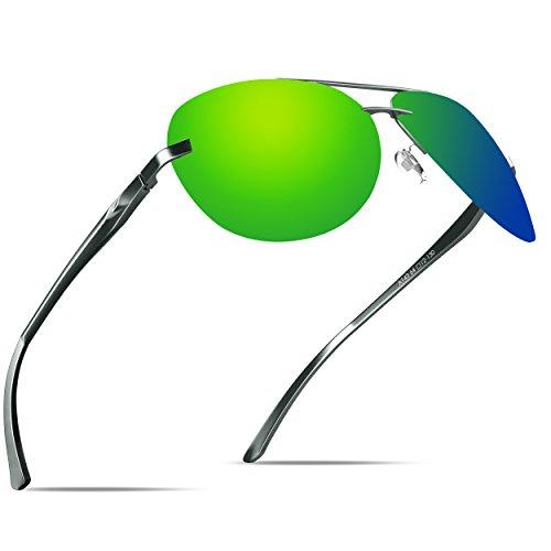 gafas protección sol estilo KITHDIA con de Aviador vendimia de la Verde del UV400 qwvYx4