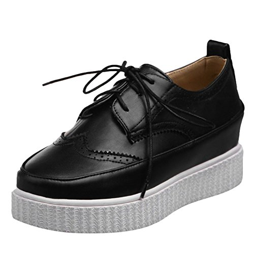 Latasa Womens Lace-up Flat Oxford Shoes Black kf4UqwI
