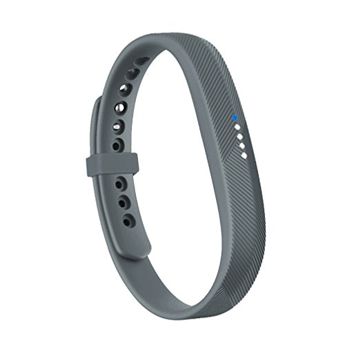 RedTaro Wristbands with Security Fastener Ring for Fitbit Flex 2,Gray,Large -