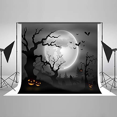Kate 7x5ft Halloween Photography Backdrop Pumpkin Moon Trees Night Scene Microfiber Background for Studio Props]()