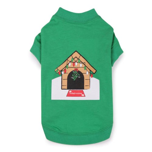 Zack and Zoey Cotton/Polyester Holiday Dog House Tee, Small/Medium, Green, My Pet Supplies