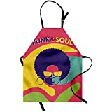 Lunarable Vintage Apron, Groovy Funk and Soul Event Flyer Print with a Cool Disco Party Music Vinyl Records, Unisex Kitchen Bib Apron with Adjustable Neck for Cooking Baking Gardening, Multicolor