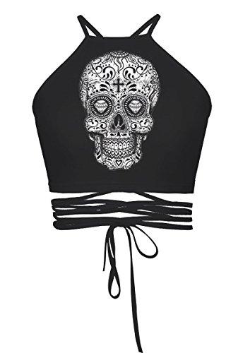 Womens Teens Girls Juniors Halterneck Sexy Vest Crop Top(Black (Skull Crop)