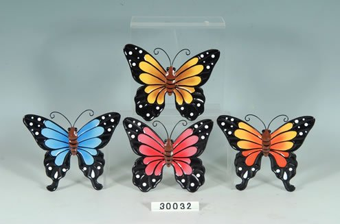 Set of 4 Decorative Metal Butterfly Wall - Wall Plaque Collectible