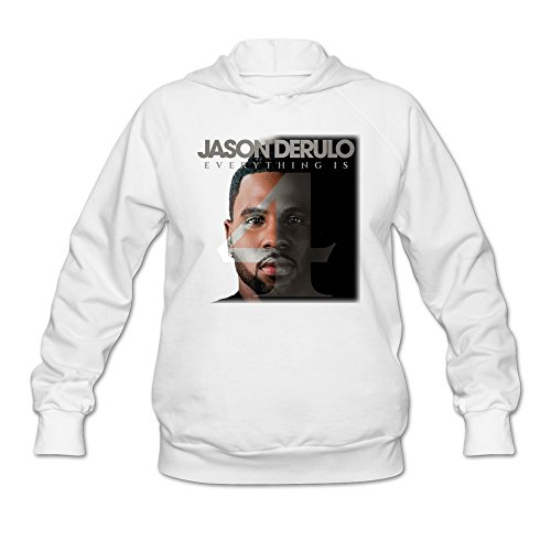 SAVIS Women Jason Derulo Everything Is 4 Want To Want Me Hoodie White 100% - Snapback Derulo Jason