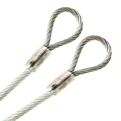 """PSI, 1/4"""" Vinyl Coated Galvanized Steel Cable with Looped Ends, 3/16"""" Core Diameter, 7x19 Braids, Flexible Multi-Purpose DIY Outdoor Safety Guide Wire Rope (50 feet, Clear)"""