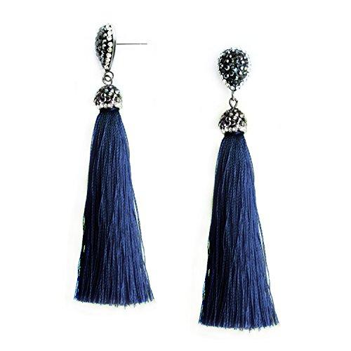Teardrop Fringe Earrings (Navy Blue Tassel Earrings Dangle Vintage Fringe Dangling Stud Earrings Handcrafted Jewelry for Women)