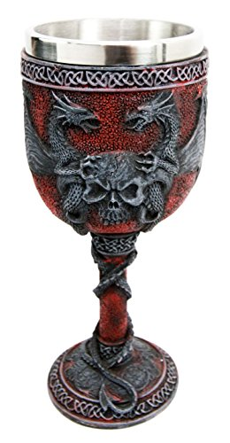 Ebros Celtic Dual Twin Dragon Blood Guarding Skull Heraldry Crest 7