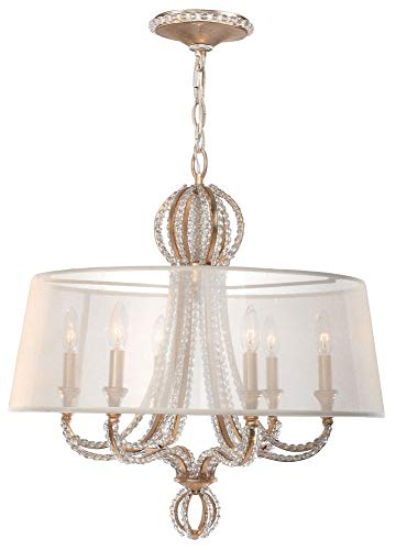 Crystorama 6767-DT Crystal Accents Six Light Chandelier from Garland collection in ()