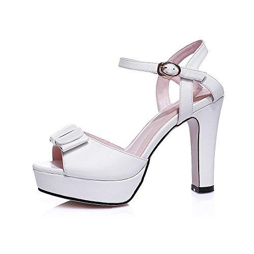 Weiches High Weiß Peep Schnalle Solide Damen Sandalen Material Toe AllhqFashion Heels q5OPwvt